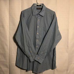 Kirkland blue striped dress shirt size 17-34 NWOT